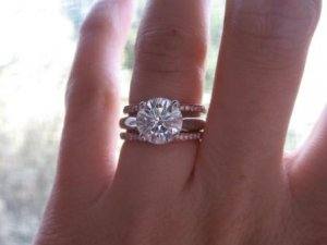 Show me your e-ring flanked with two wedding bands | PriceScope Forum