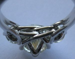 ID#163-273-0500 3 Stone Round Triple Swirl Dinner Pre-Notched Sterling Silver RING Setting