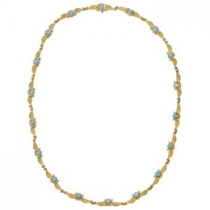 Estate Tiffany Co Egyptian Link Necklace Gold Turquoise