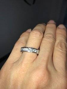 Mine Is A Channel Set Platinum Eternity Ring In Size 4 5 With 3 Carats Of Princess Cut Diamonds I Think Setting Much More Comfortable To Wear