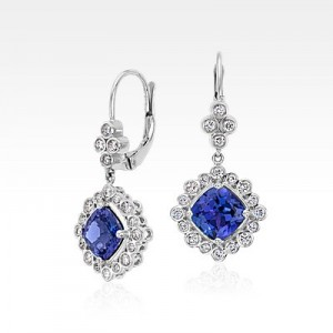 Tanzanite and Diamond Earrings in 18k White Gold