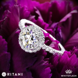 Ritani Halo Diamond Engagement Ring set with a 0.898ct A CUT ABOVE