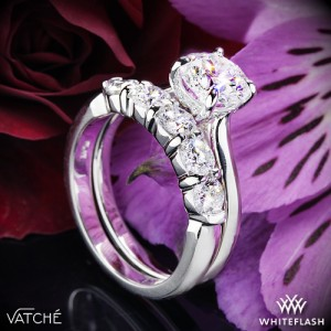 Vatche Caroline Solitaire Engagement Ring with 5 Stone Eternity Ring