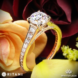 Ritani Tapered Pave Diamond Engagement Ring with a 1.02ct A CUT ABOVE