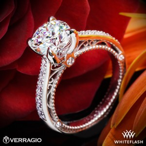 Verragio 4 Prong Beaded Diamond Engagement Ring with a 1.502ct A CUT ABOVE