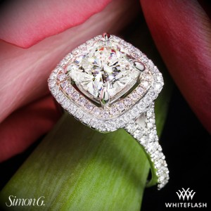 Simon G MR2461 Halo Diamond Engagement Ring with 1.8ct Cushion