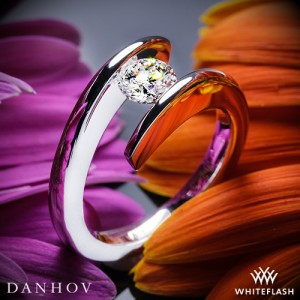 Danhov Voltaggio Single Shank Tension Engagement Ring with 0.821ct A CUT ABOVE