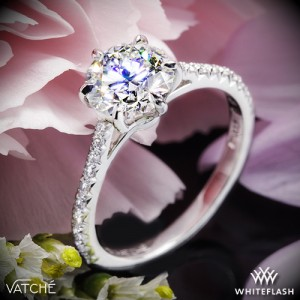 Vatche Felicity Pave Diamond Engagement Ring set with a 1.082ct A CUT ABOVE