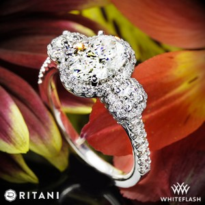 Ritani Three Stone Engagement Ring set with a 1.27ct Oval