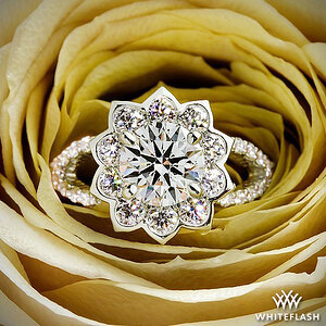 Custom Lotus Halo with Shared Prong Style Infinity Shank Diamond Engagement Ring