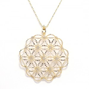 Yellow and White Gold Ornate Pendant