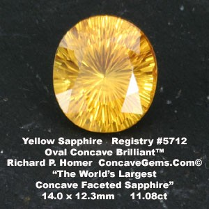 World's largest Concave Faceted Sapphire