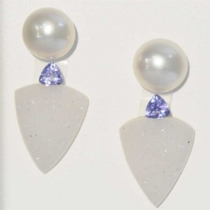 Fresh Water Cultured pearl with tanzanite and white druzy.  WOW!