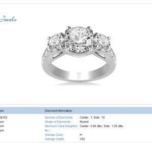 Platinum Three Stone Trellis Diamond Ring With Sidestones (2 1/4 cttw.)