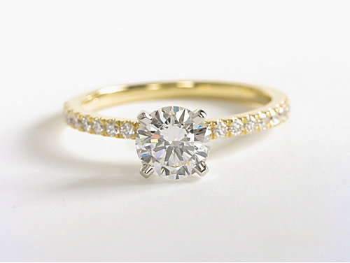 Petite Pave Diamond Engagement Ring in 18k Yellow Gold
