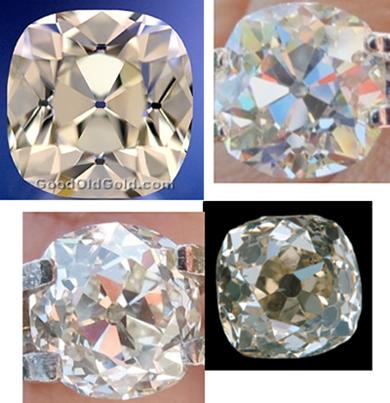 Old Mine Cut Diamonds with Antique-Style Cushion Cut Diamond