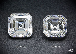 Comparison photo of two asscher cut diamonds