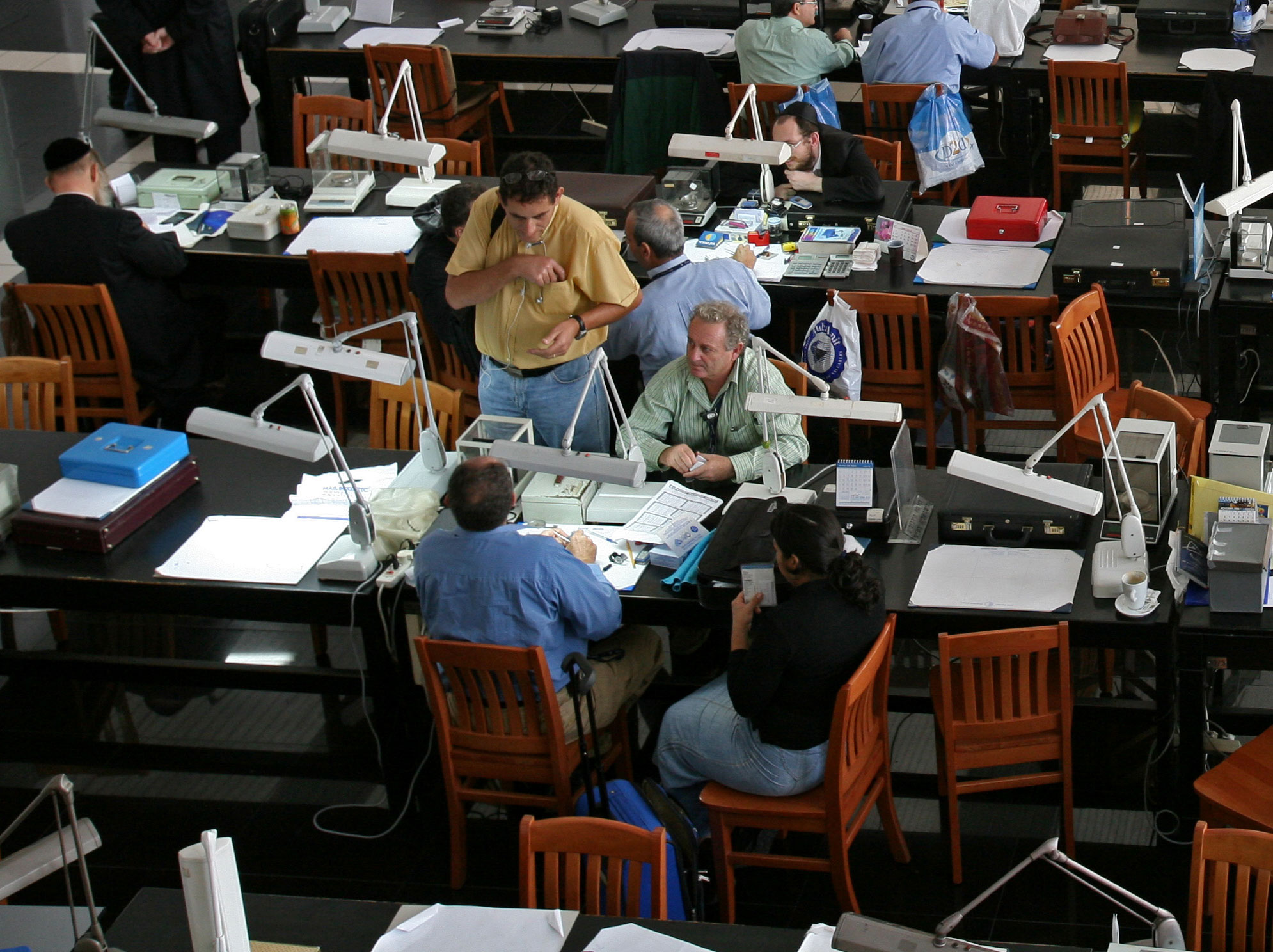 Trading floor of the Israel Diamond Exchange, courtesy Israel Diamond Exchange