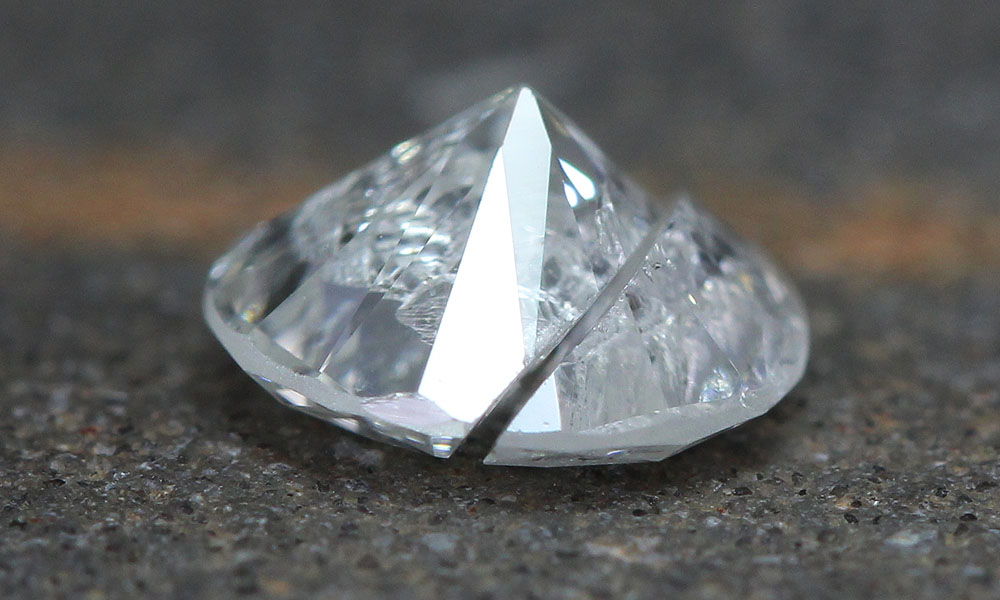 Another view of the cleaved diamond