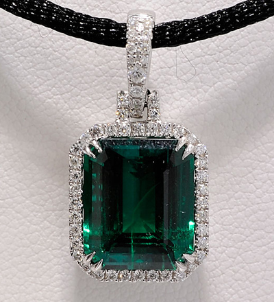 Finished Diamond and Chatham Emerald Pendant