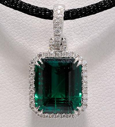 Finished Diamond and Chatham Emerald Pendant