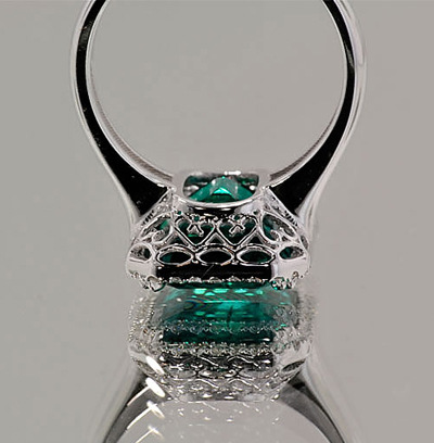 Finished Diamond and Chatham Emerald Ring Undergallery