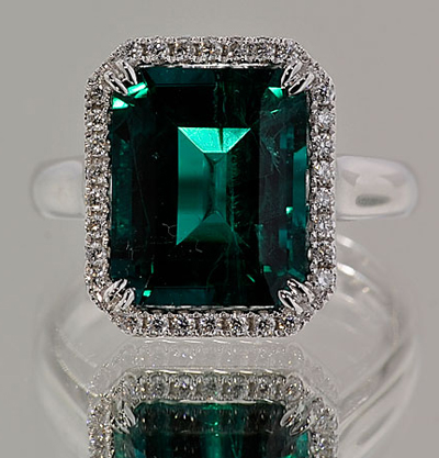 Finished Diamond and Chatham Emerald Ring