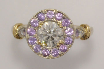 Finished diamond purple sapphire ring