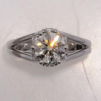 Finished diamond engagement ring