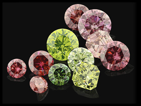Treated pink and green diamonds