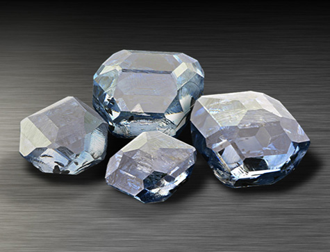 Rough blue synthetic diamonds
