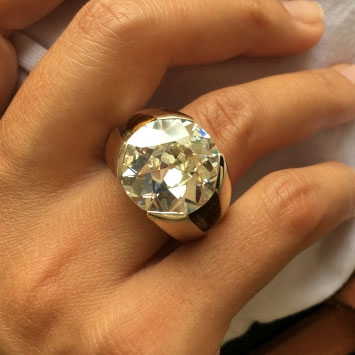 Bepsi's 12.54 Carat Old European Cut Diamond Ring (Top View) - image from Bepsi