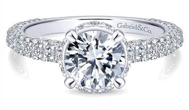 Gabriel & Co. 14k White Gold Diamond Straight Engagement Ring at Gabriel & Co.