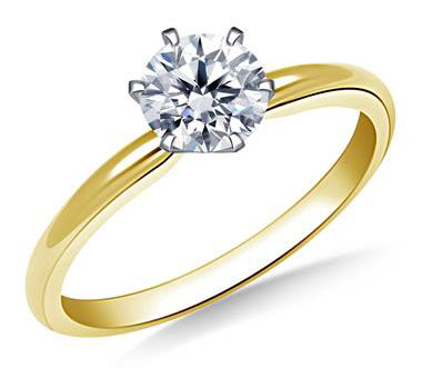 Six Prong Pre-Set Round Diamond Solitaire Ring In 14K Yellow Gold at B2C Jewels