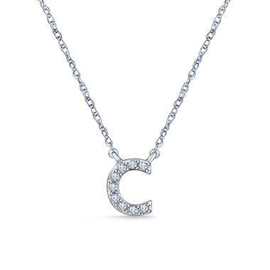 White gold pendant initial necklace  at B2C Jewels