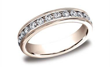14Kt Rose Gold 4mm Channel Set Diamond Eternity Wedding Band With Milgrain With A Total Weight Of 1.04Ct 53455014KR-IBMD