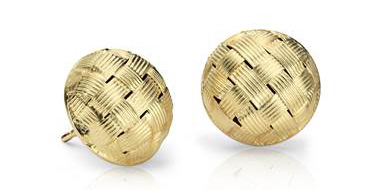 Basketweave Stud Earrings in 18k Yellow Gold at Blue Nile