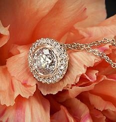 18k Rose Gold Ritani Bella Vita Halo Diamond Pendant at Whiteflash