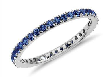 Riviera Pave Sapphire Eternity Ring in 18k White Gold (1.5mm)