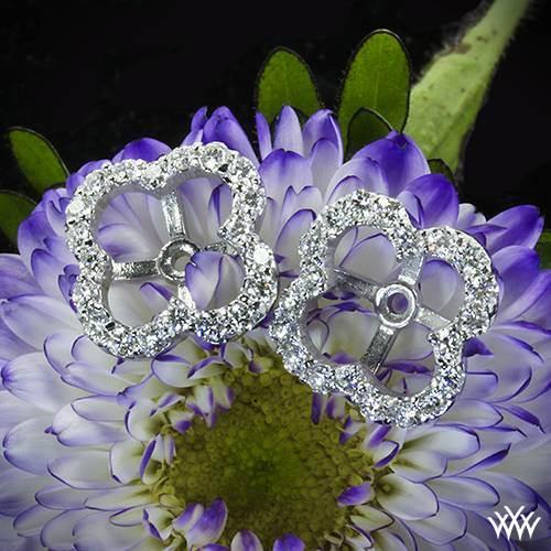 Whiteflash large clover diamond earring jackets in 18k white gold