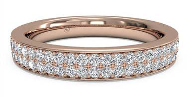 Women's Double Micropave Diamond Wedding Ring - in 18kt Rose Gold - (0.25 CTW)