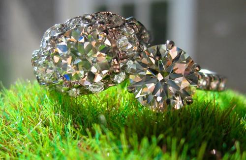 Old European Cut Diamond Ring with Ideal Cut Round Diamond Ring