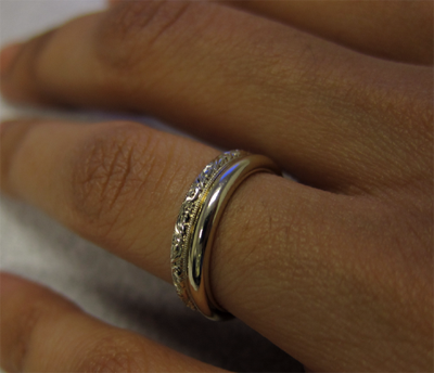 Un-plated white gold wedding rings