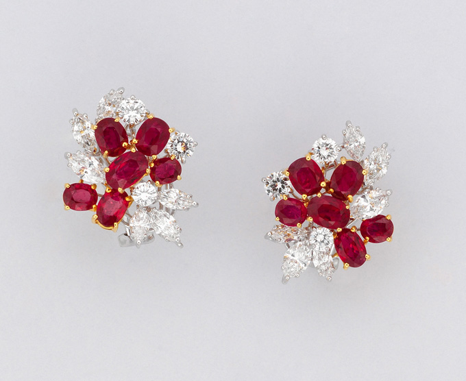 Lot 64 • A pair of ruby and diamond earrings • Christie's