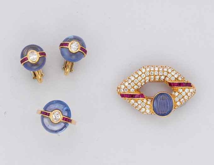 A group of sapphire, ruby and diamond jewelry • Christie's