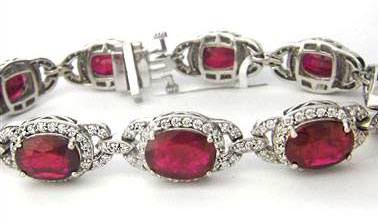 23.54CT Ruby and Diamond Bracelet F SI1 18KT White Gold at I.D. Jewelry