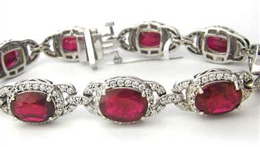 23.54CT Ruby and Diamond Bracelet F SI1 18KT White Gold