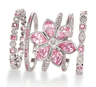 Pink sapphire and diamond rings by 23rd Street Jewelers