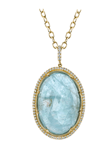 23rd Street Jewelers Aquamarine and Diamond Pendant