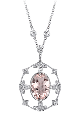 23rd Street Jewelers morganite and diamond pendant with leaf detail